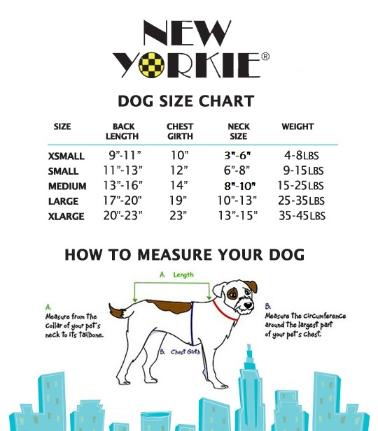 New Yorkie Dog Sizing Chart